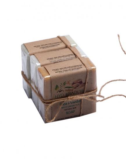 Yeşil Çaylı Doğal Pirinç Tozu - Eşek Sütü - Geleneksel Zeytinyağlı Sabun 3'lü sabun seti